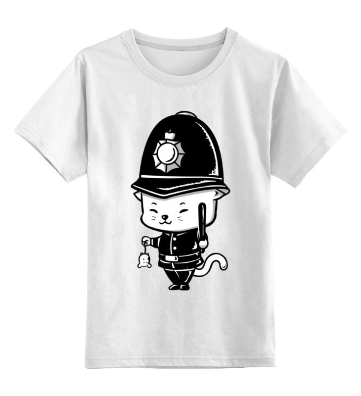Купить 0000002348005, Детская футболка Printio Кот-полицейский цв.белый р.140,