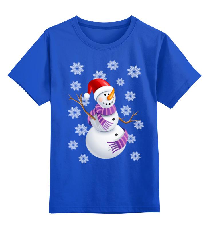 Купить 0000002368729, Детская футболка Printio Снеговик цв.синий р.140,