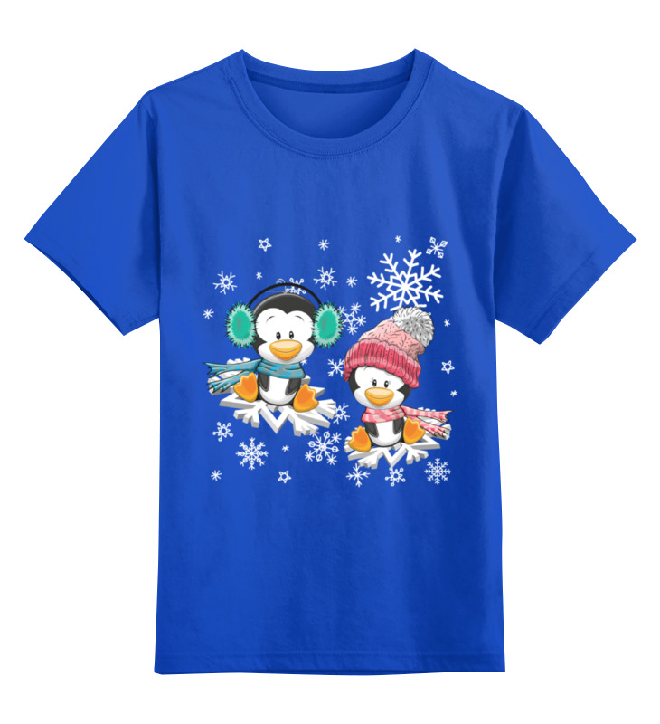 Детская футболка Printio Пингвин зимой цв.синий р.140 0000002371676 по цене 990