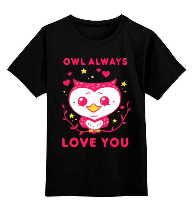 Купить 0000002324949, Детская футболка Printio Сова. цв.черный р.140,