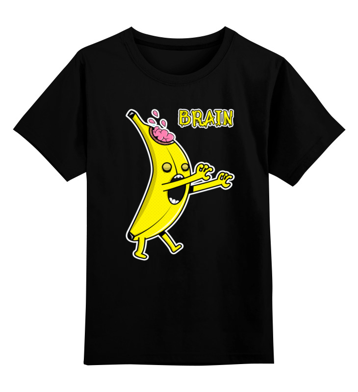 0000002379040, Детская футболка Printio Банан зомби цв.черный р.140,  - купить со скидкой