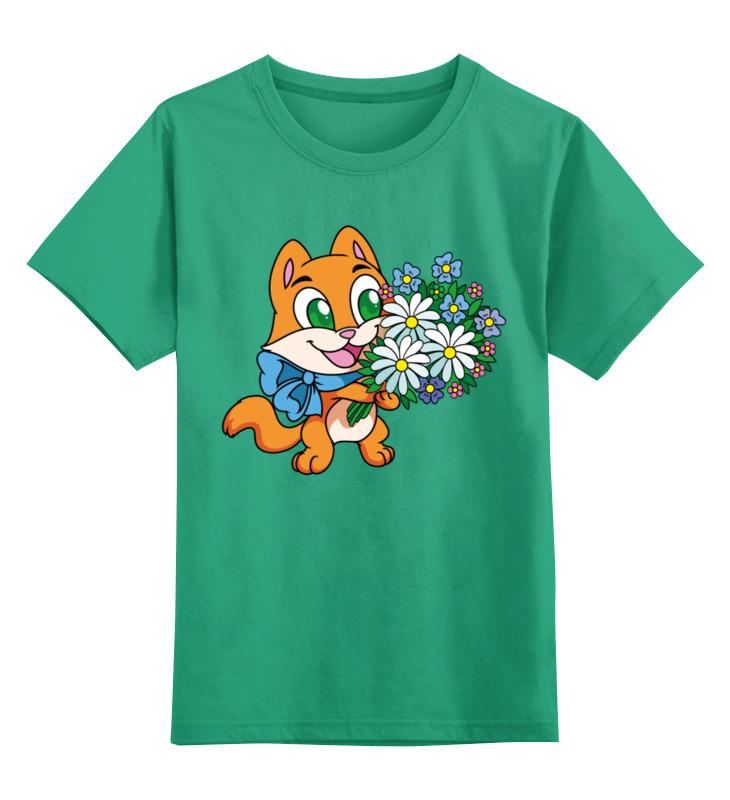 Детская футболка Printio Зверек с цветами цв.зеленый р.140 0000002415788 по цене 990