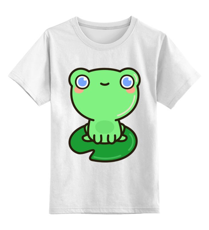 Купить 0000002458911, Детская футболка Printio Лягушка цв.белый р.140,