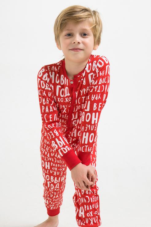 Купить Пижама детская Crockid новогодный комбинизон из трикотажного хлопка К 6180 Красный р.110,