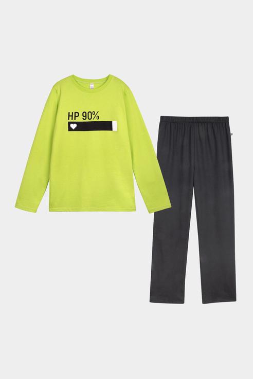 Купить Пижама детская Bossa Nova лонгслив с принтом и брюки 362Л-161 Зеленый р.152,