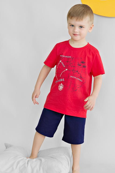 Купить Пижама детская Bossa Nova из натуральной ткани футболка и шорты 384П-161 Красный р.104,