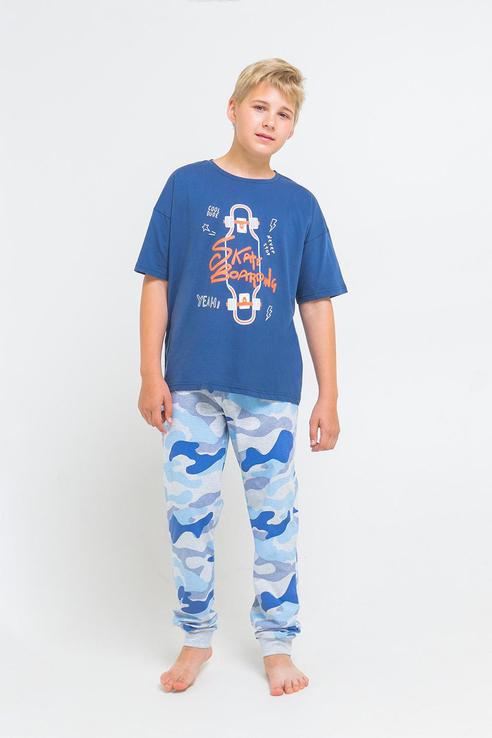 Купить Пижама детская Cubby футболка и брюки с рацветкой милитари КБ 2689 Синий р.164,