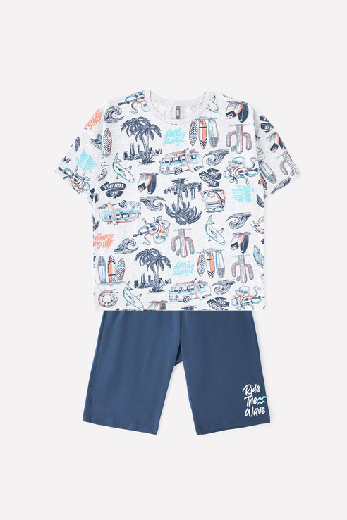Купить Пижама детская Cubby футболка со спущенными плечами и шорты КБ 2770 Синий р.158,