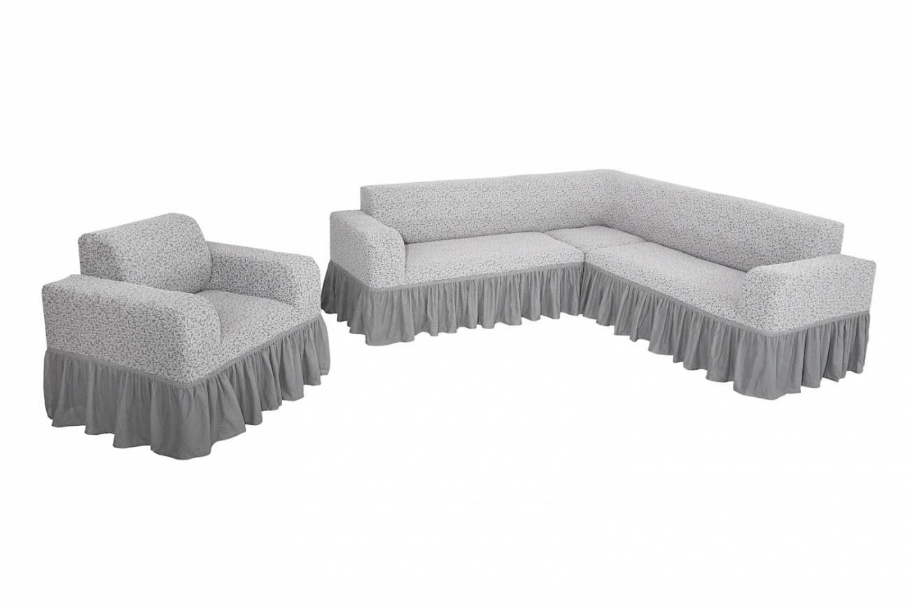Комплект чехлов на угловой диван и кресло с оборкой Venera