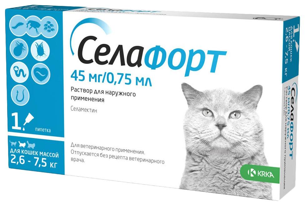 Капли для кошек 2,6 7,5 кг против