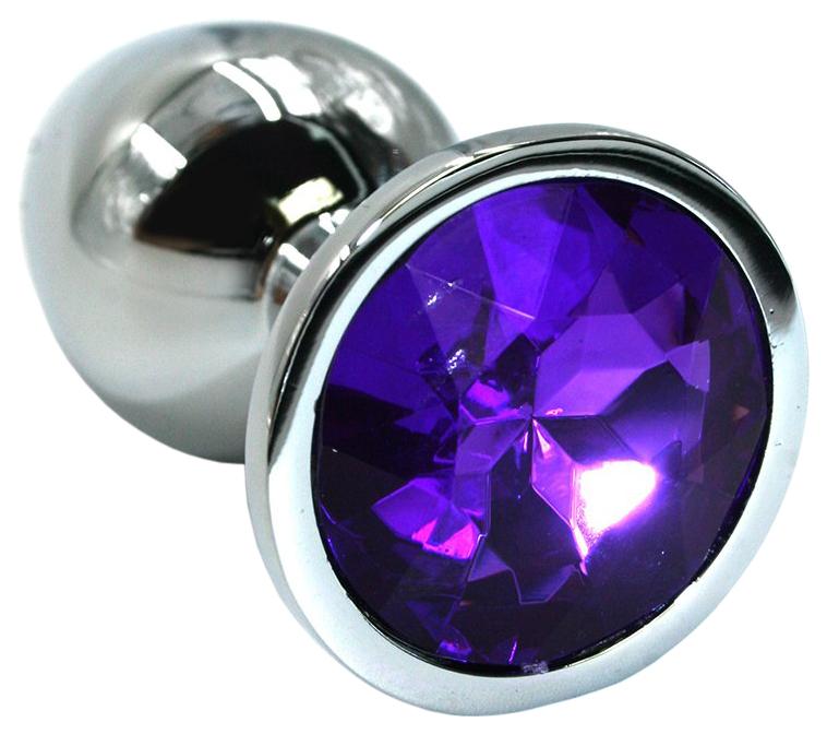 Серебристая алюминиевая анальная пробка с темно-фиолетовым кристаллом 7 см фото