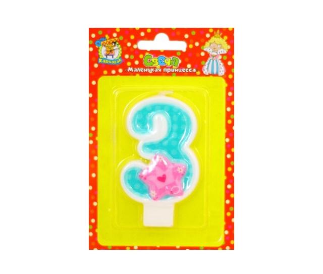 Свеча для торта Маленькая принцесса Цифра