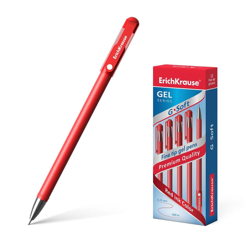 Ручка гелевая ErichKrause G-Soft, цвет чернил красный (в коробке по 12 шт.)