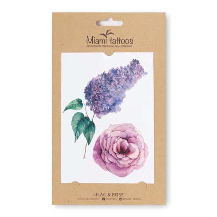 Купить Акварельные переводные тату Miami Tattoos Lilac & Rose