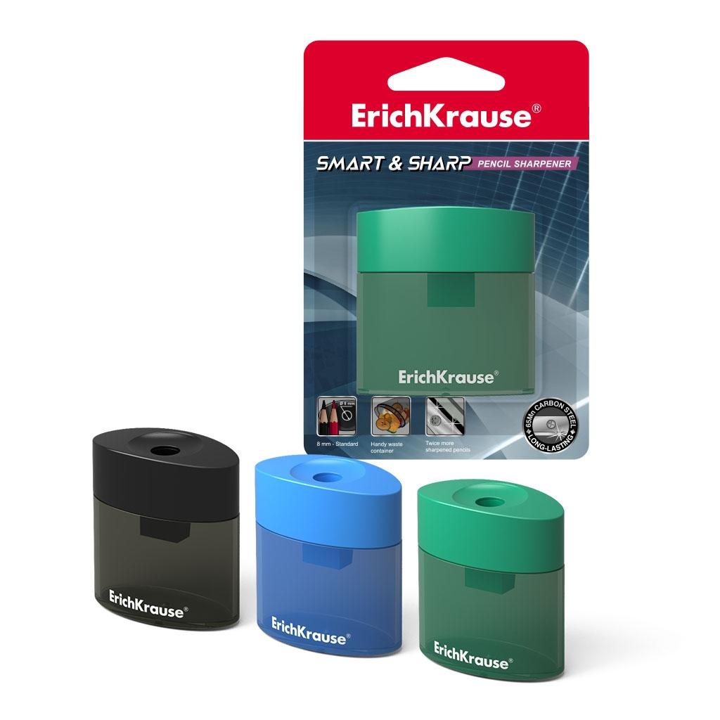 Пластиковая точилка ErichKrause Smart&Sharp с контейнером, цвет
