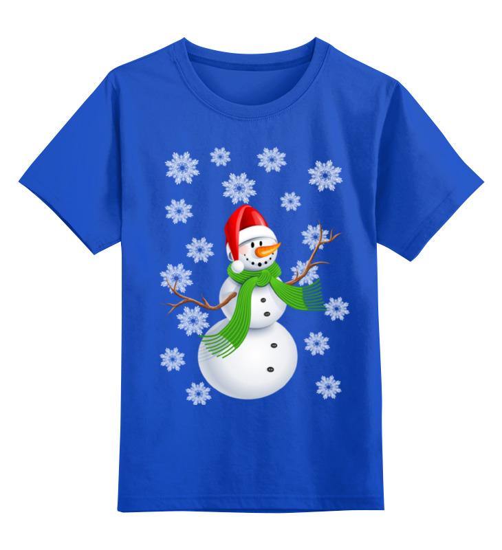 Купить 0000002368750, Детская футболка Printio Снеговик цв.синий р.128,