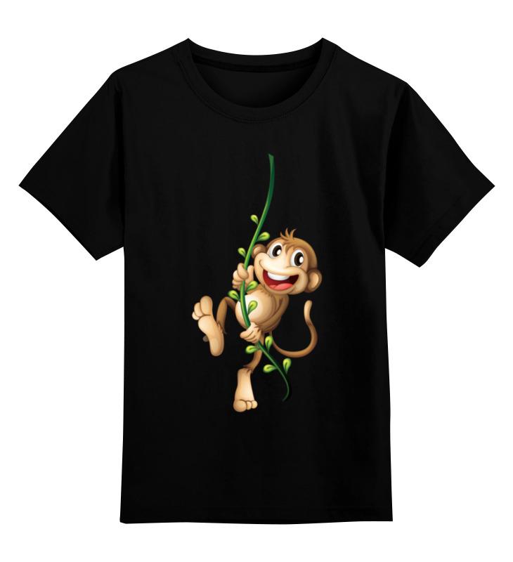 Купить 0000002433566, Детская футболка Printio Обезьянка чи-чи-чи цв.черный р.128,