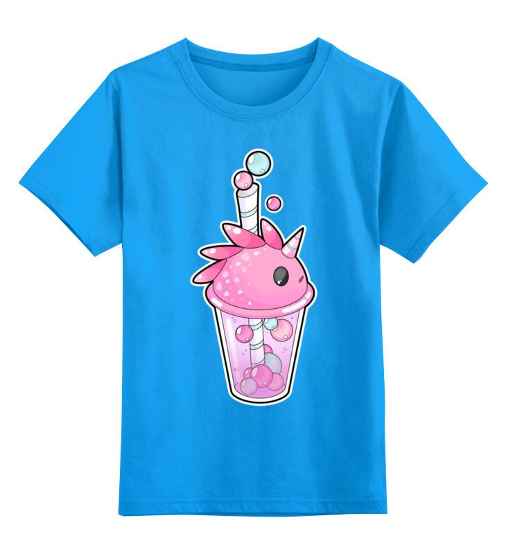 Купить 0000002443398, Детская футболка Printio Пузырьковое настроениедракон-единорог цв.голубой р.128,