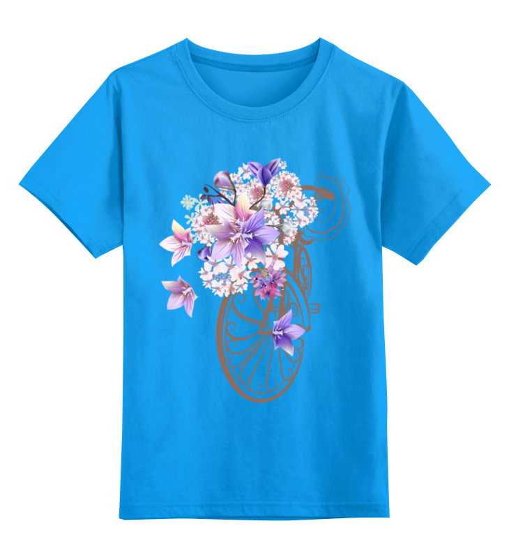 Купить 0000002447933, Детская футболка Printio Велосипед цв.голубой р.128,