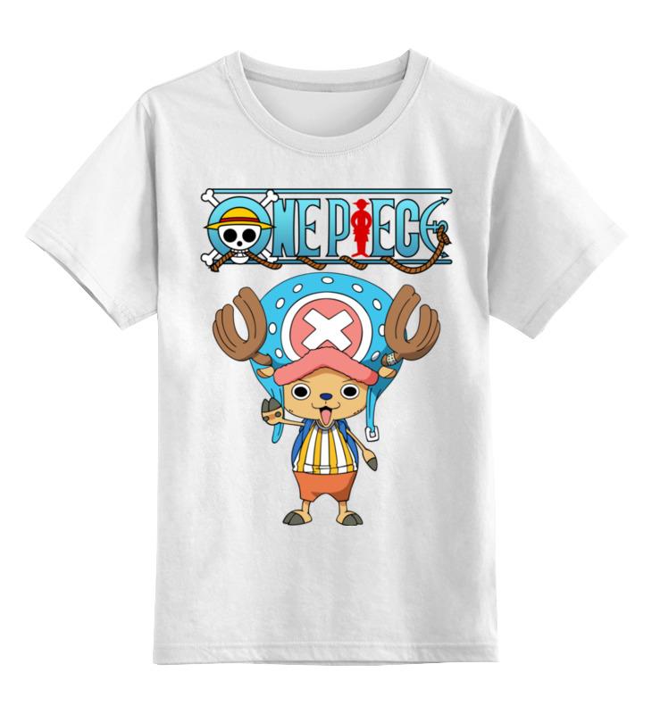 Купить 0000002448006, Детская футболка Printio One piece цв.белый р.128,