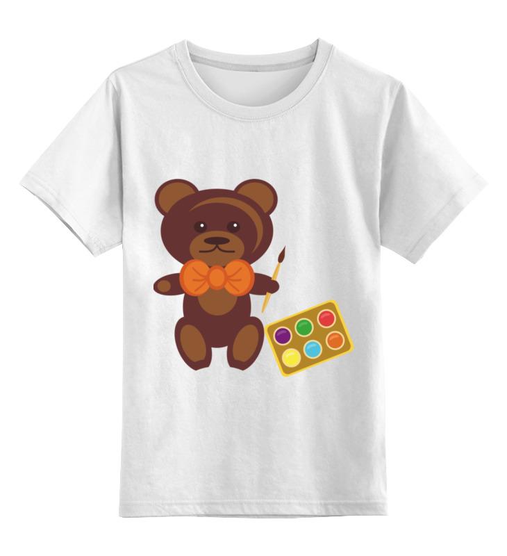 Купить 0000002450593, Детская футболка Printio Медвежонок-художник цв.белый р.128,