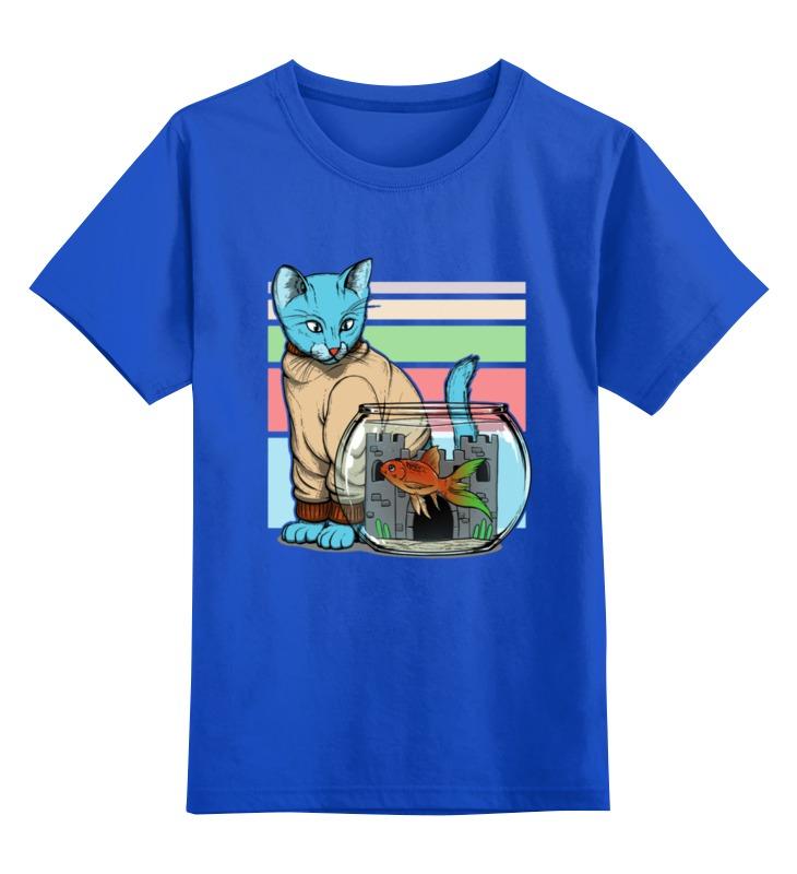 Купить 0000002486861, Детская футболка Printio Кошечка цв.синий р.128,