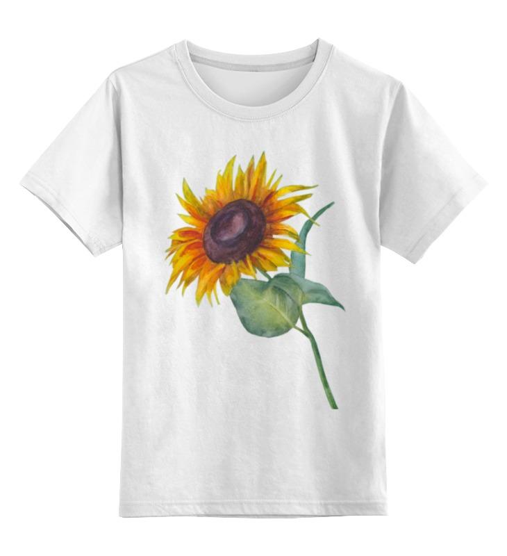 Купить 0000002513235, Детская футболка Printio Подсолнух цв.белый р.128,