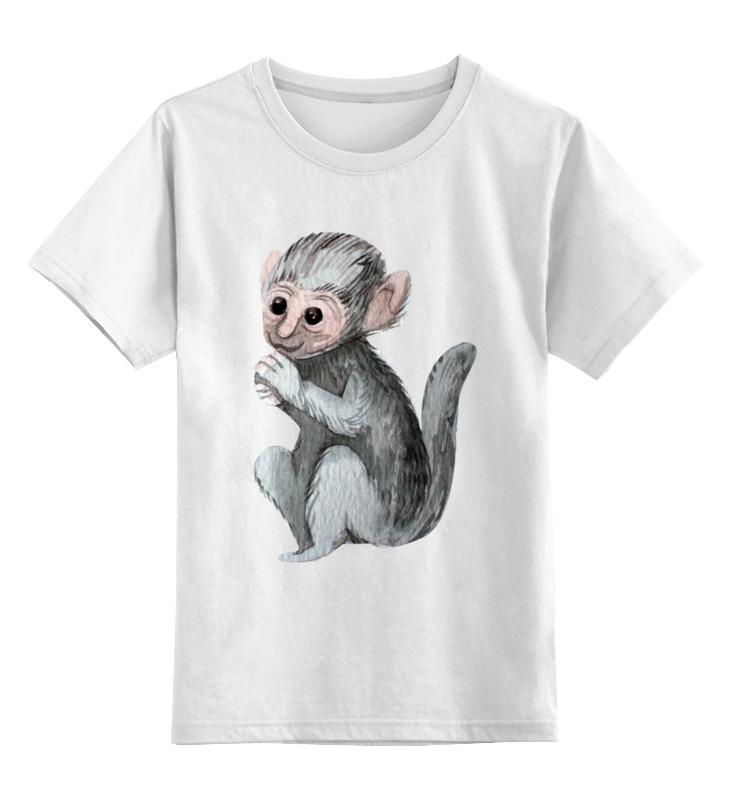 Купить 0000002533311, Детская футболка Printio Фото с обезьянкой цв.белый р.128,