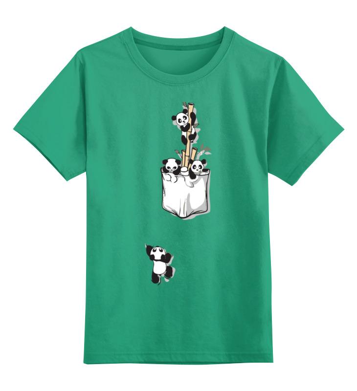 Купить 0000002540620, Детская футболка Printio Панда цв.зеленый р.128,