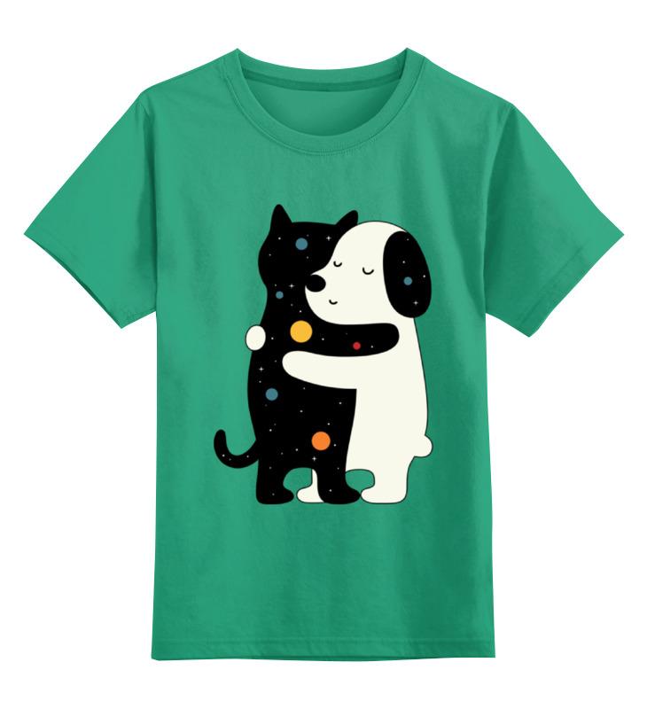 Купить 0000002347863, Детская футболка Printio Котик и собачка цв.зеленый р.116,
