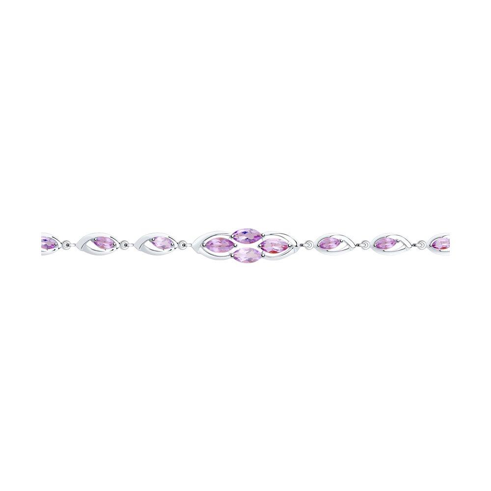 Браслет из серебра с аметистом  р. 16 Diamant 94-350-00657-2