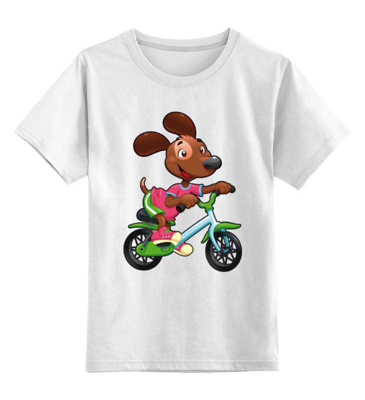 Купить 0000002295145, Детская футболка Printio Собака - велосипедист цв.белый р.128,