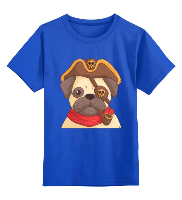 Детская футболка Printio Мопс - пират цв.синий р.128 0000002339022 по цене 990