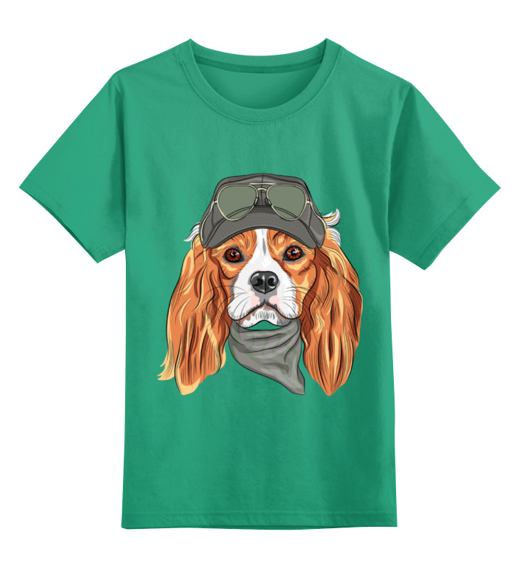 Купить 0000002349044, Детская футболка Printio Собака цв.зеленый р.128,
