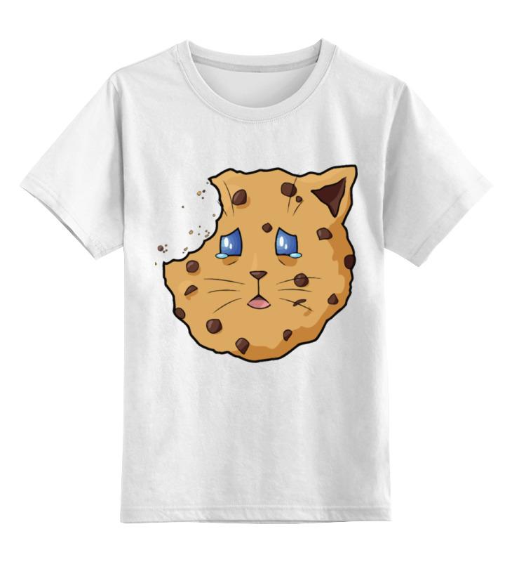Купить 0000002380079, Детская футболка Printio Грустная кошка-печенье цв.белый р.128,