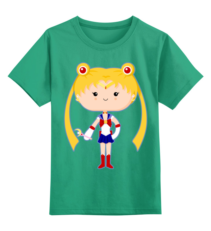 Купить 0000002442933, Детская футболка Printio Сейлор мун цв.зеленый р.128,