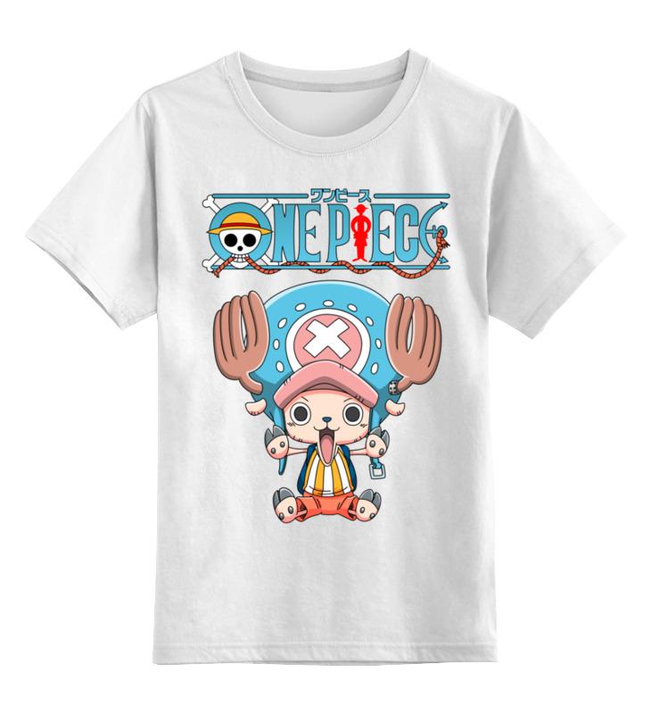 Купить 0000002447784, Детская футболка Printio One piece цв.белый р.128,