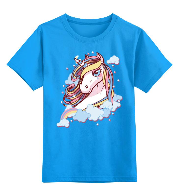 Купить 0000002470252, Детская футболка Printio Единорог цв.голубой р.128,