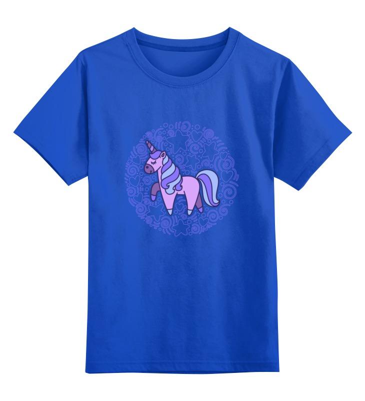 Купить 0000002487783, Детская футболка Printio Unicorn цв.синий р.128,