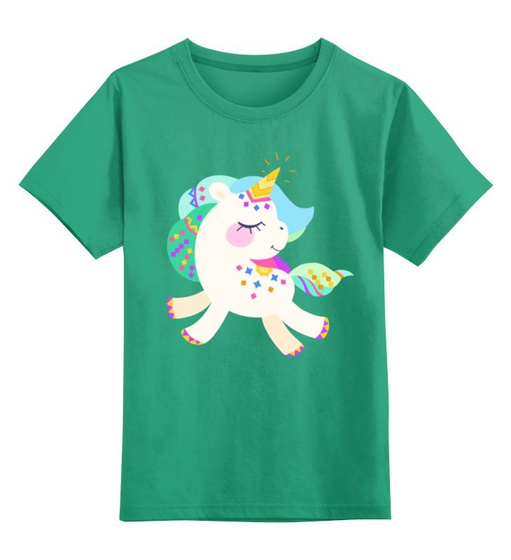 Купить 0000002499189, Детская футболка Printio Милый единорог цв.зеленый р.128,