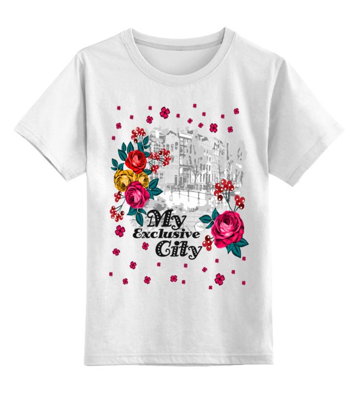 Купить 0000002541720, Детская футболка Printio Город цв.белый р.128,