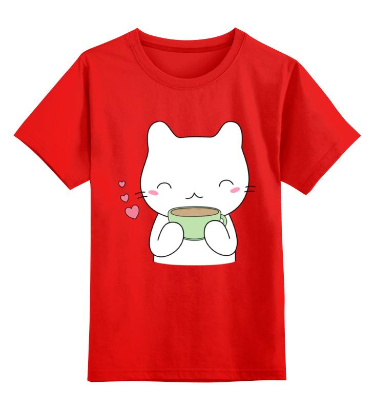 Купить 0000002347990, Детская футболка Printio Милый котик цв.красный р.116,