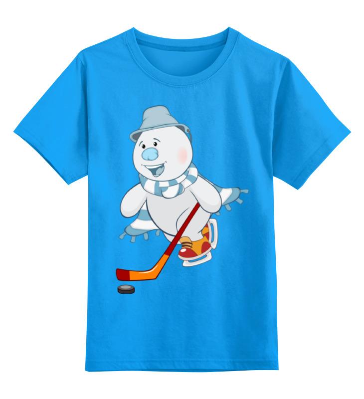 Купить 0000002364379, Детская футболка Printio Снеговик цв.голубой р.116,
