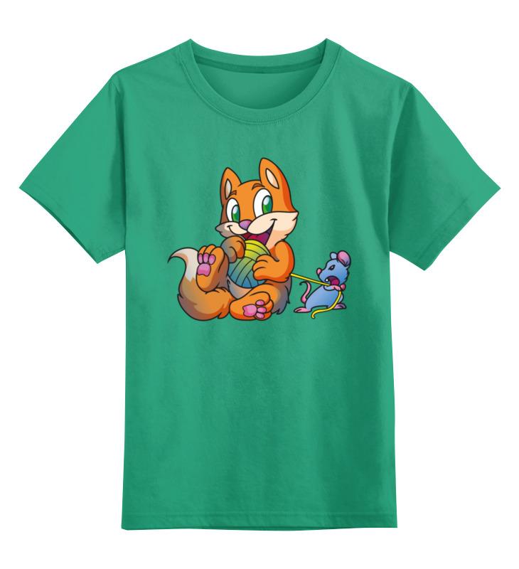 Купить 0000002415891, Детская футболка Printio Котик с мышкой цв.зеленый р.116,