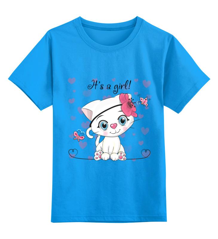 Купить 0000002433498, Детская футболка Printio Кошечка цв.голубой р.116,