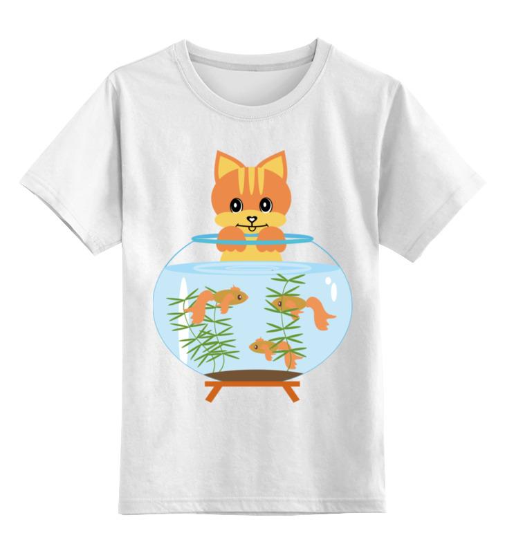 Купить 0000002450572, Детская футболка Printio Котик с аквариумом цв.белый р.116,