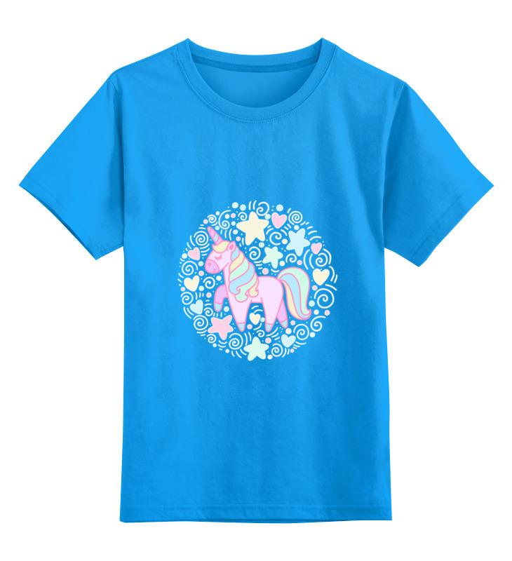 Купить 0000002487803, Детская футболка Printio Unicorn цв.голубой р.116,