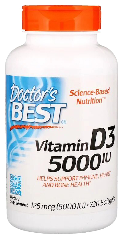 Купить Vitamin D3 5000 IU, Витамин Д3 Doctor's Best 5000 Ме капсулы 720 шт.