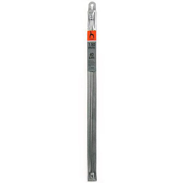 Спицы прямые, 1,5 мм, 40 см, сталь, 2 штуки