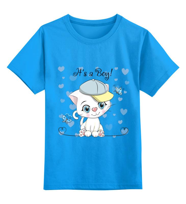 Купить 0000002433534, Детская футболка Printio Котик цв.голубой р.116,